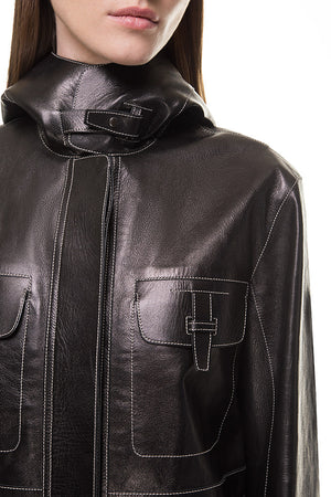 Black Leather Parka