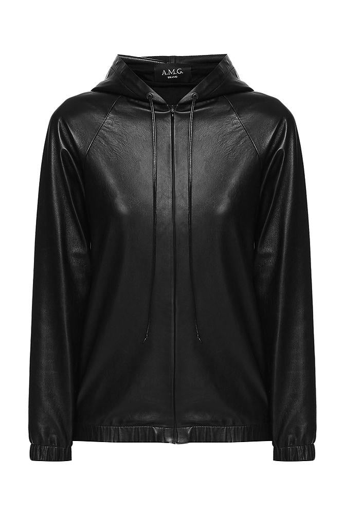 Black Leather Hoodie