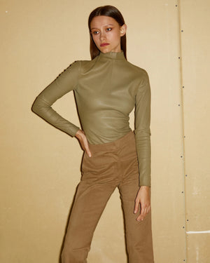 Olive Leather Top