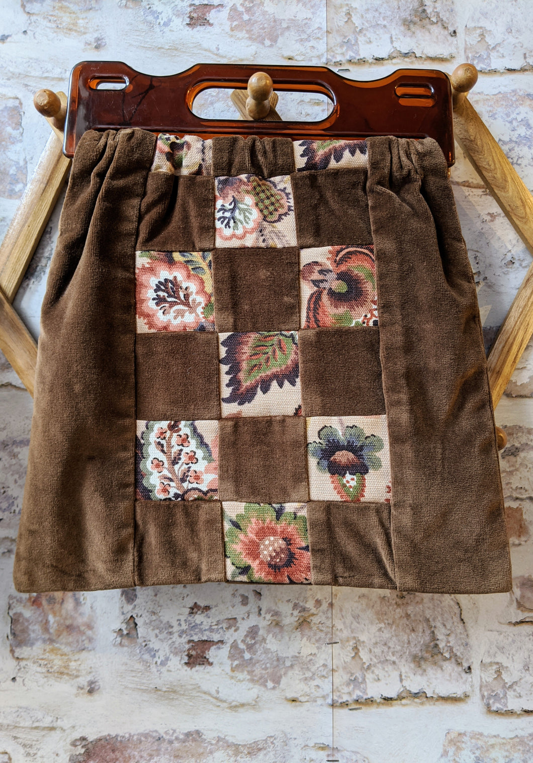 Vintage Brown Velvet Patchwork Bag