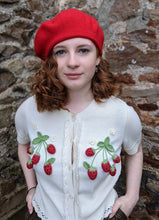 Load image into Gallery viewer, Olive and Red Wool Pom Pom Berets