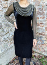 Load image into Gallery viewer, ** SOLD ** Vintage Black Velvet & Gold Cowl Neck Dress