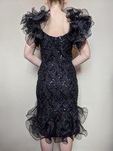 Load image into Gallery viewer, **SOLD**  Vintage Black Sequinned Ruffle Sleeve Dress