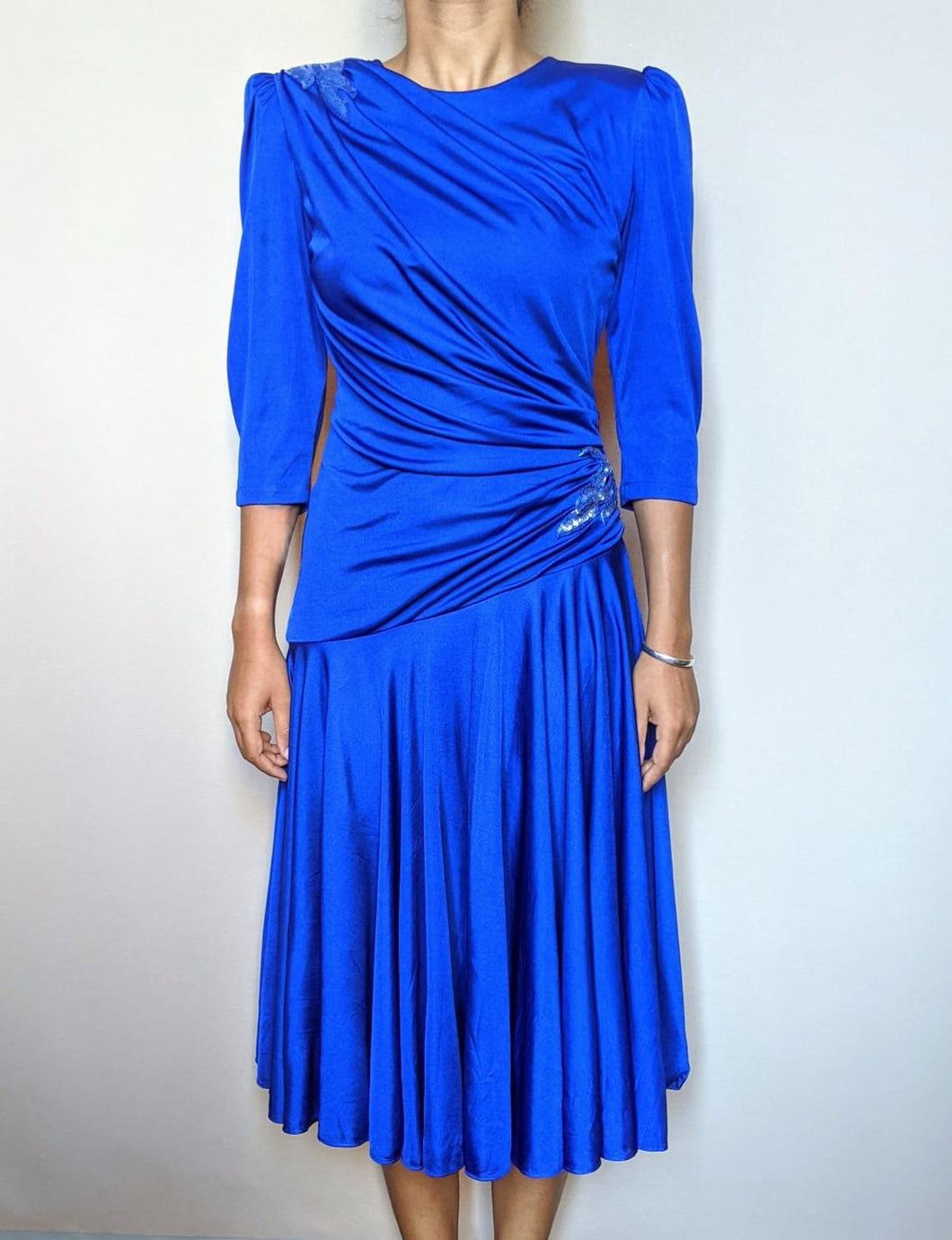 Vintage Royal Blue Ruched Detail Dress