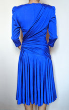 Load image into Gallery viewer, Vintage Royal Blue Ruched Detail Dress