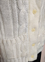 Load image into Gallery viewer, ** SOLD ** Vintage Cream Aran Style Sleeveless Cardigan
