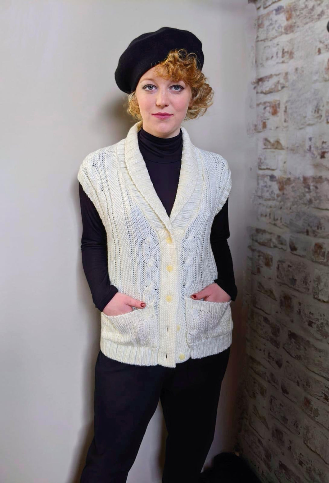 ** SOLD ** Vintage Cream Aran Style Sleeveless Cardigan