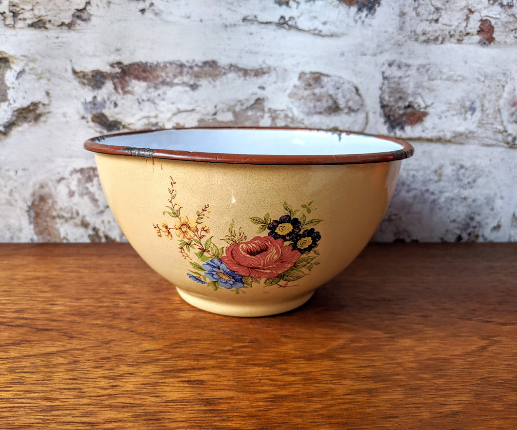 **SOLD** Flower Detail Enamel Bowl