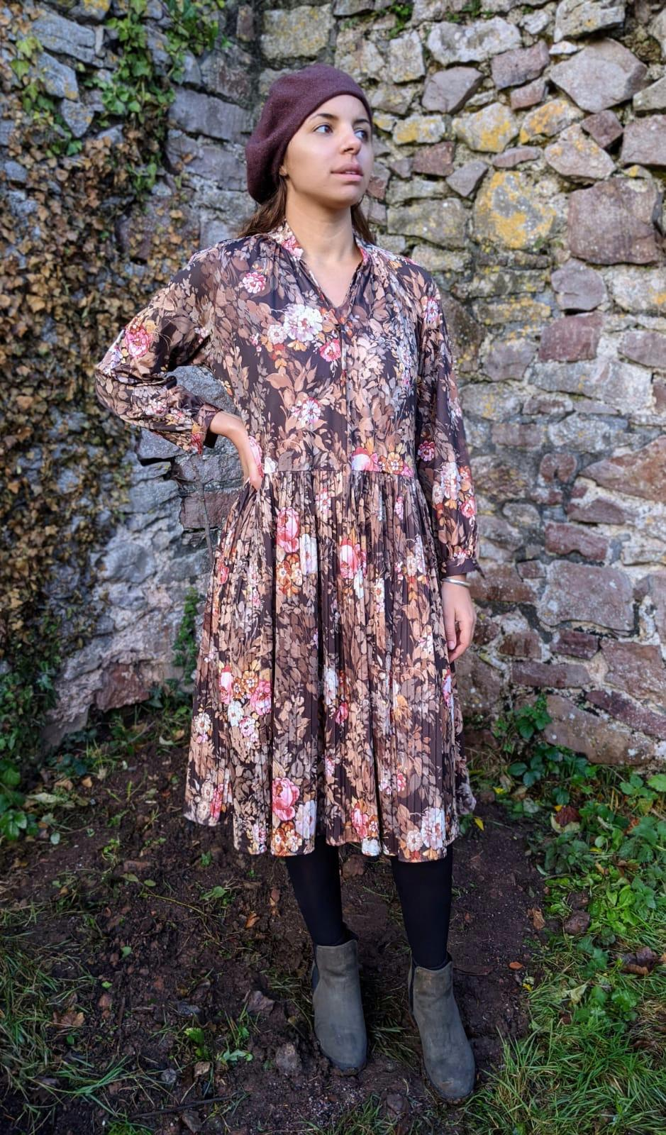 Vintage Autumnal Floral Dress