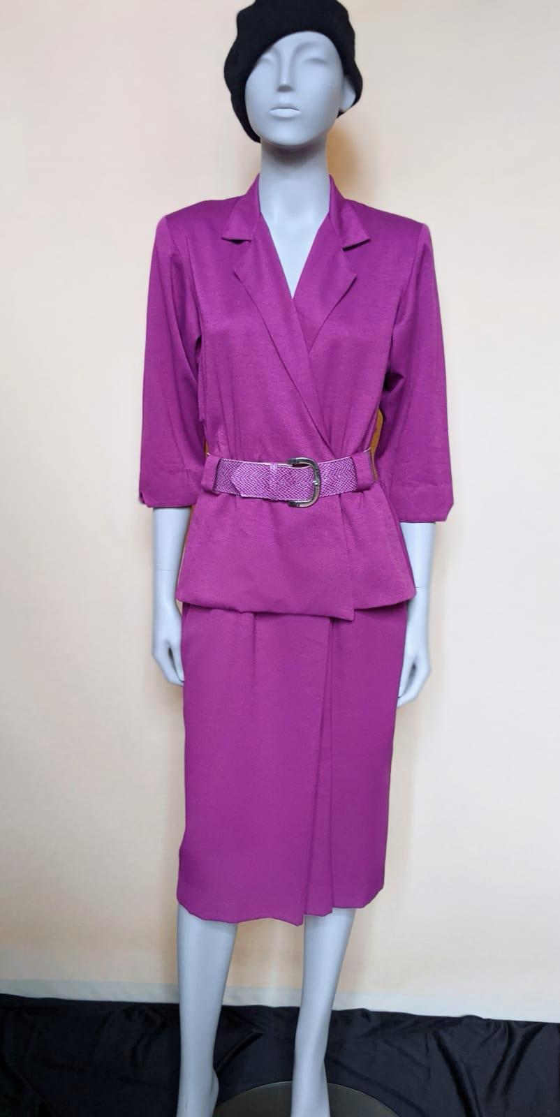Vintage Fuscia Suit Dress & Belt