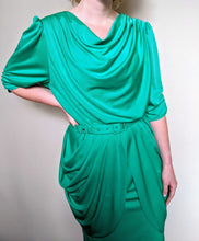 Load image into Gallery viewer, ** SOLD ** Vintage Green Ruched Dress and Belt