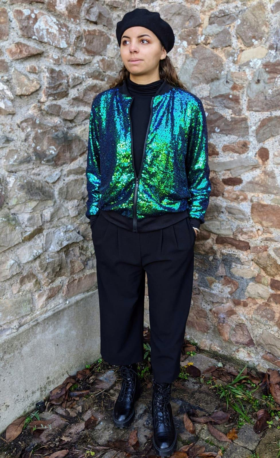 ** SOLD ** Retro Green Sequin Bomber Jacket