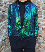 Load image into Gallery viewer, ** SOLD ** Retro Green Sequin Bomber Jacket