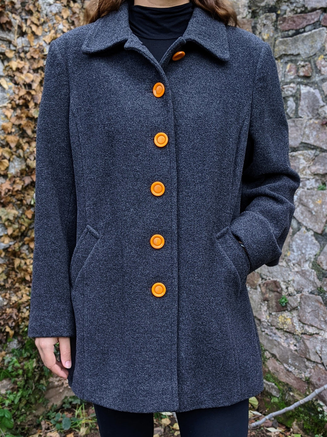 ** SOLD ** Vintage Dark Grey Wool Coat with Orange Statement Buttons