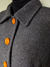 Load image into Gallery viewer, ** SOLD ** Vintage Dark Grey Wool Coat with Orange Statement Buttons
