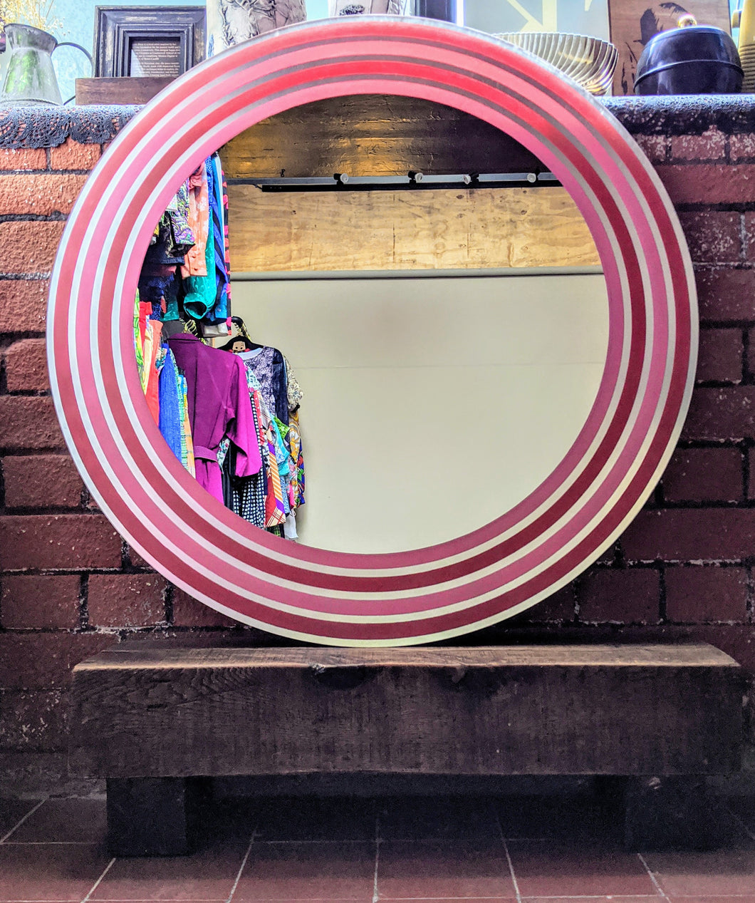 ** SOLD **    Retro Red/Pink Stripe Circular Mirror
