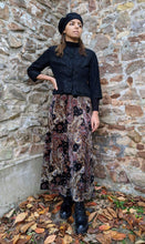 Load image into Gallery viewer, ** SOLD ** Vintage Soft Velvet  Maroon/Black/Amber Paisley Skirt