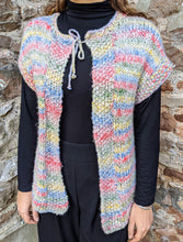 Load image into Gallery viewer, ** SOLD ** Hand Knitted Multi Sleeveless Cardigan