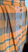 Load image into Gallery viewer, Vintage Orange/Brown/Olive Checked Skirt