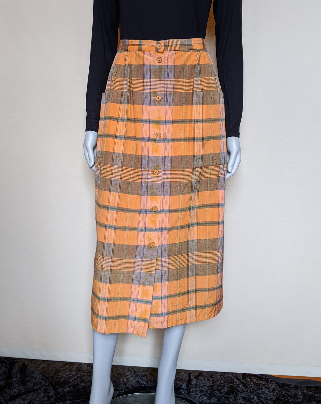 Vintage Orange/Brown/Olive Checked Skirt