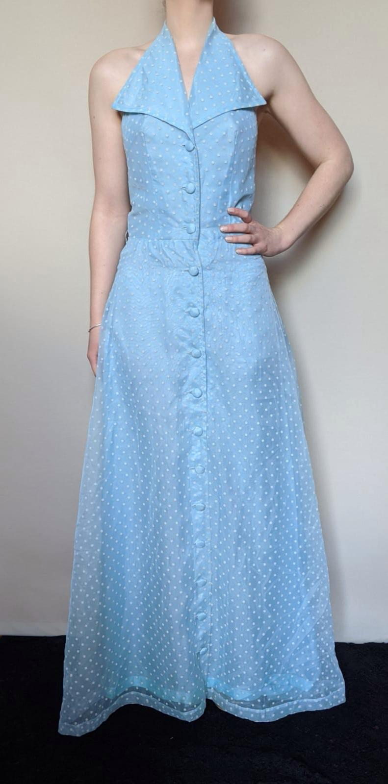 Vintage 1950's Powder Blue Dotty Halter Neck Long Dress