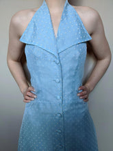Load image into Gallery viewer, Vintage 1950's Powder Blue Dotty Halter Neck Long Dress