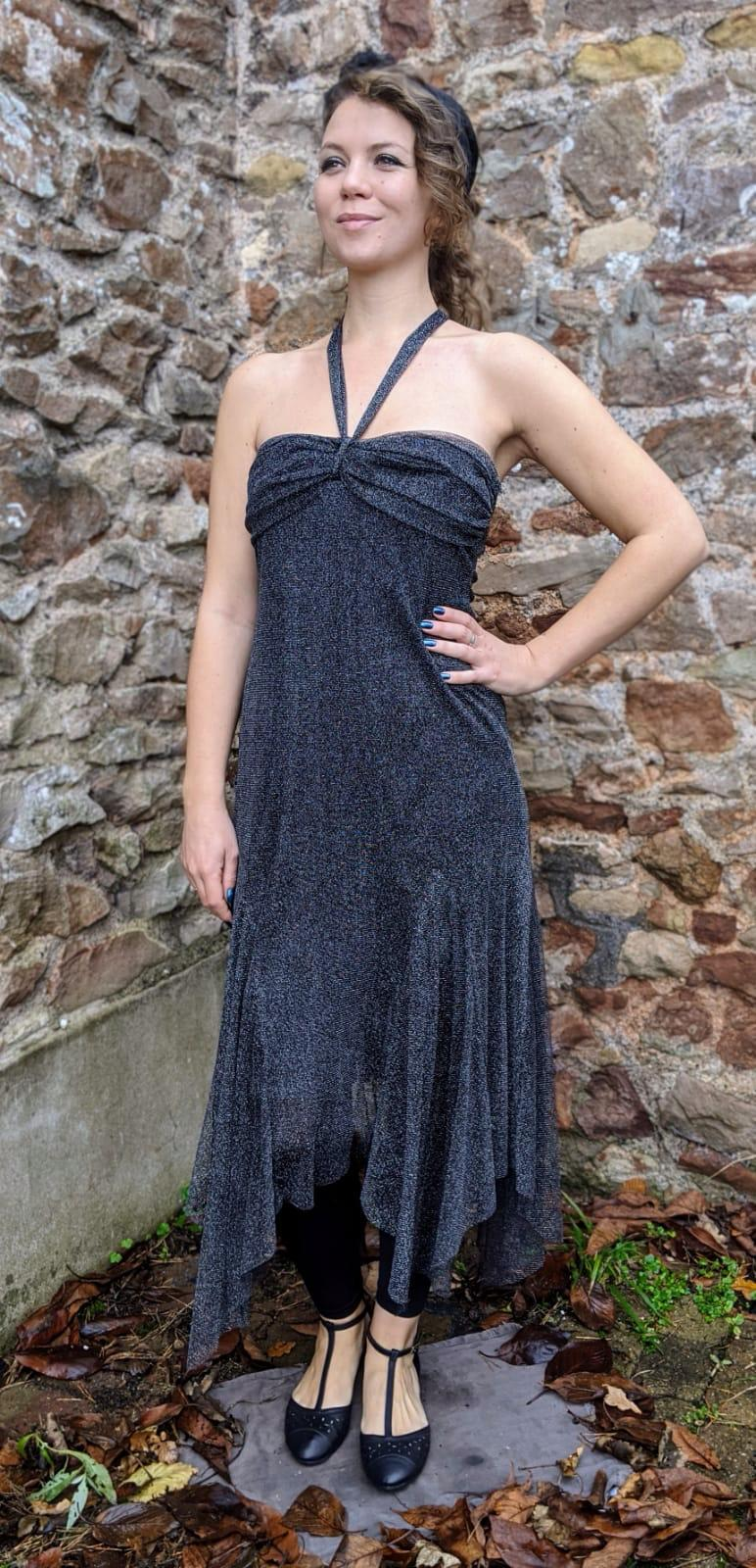 Black & Silver Sparkly Halter Neck Dress