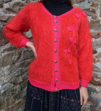 Load image into Gallery viewer, ** SOLD ** Cherry Red Mohair Detail Cardigan
