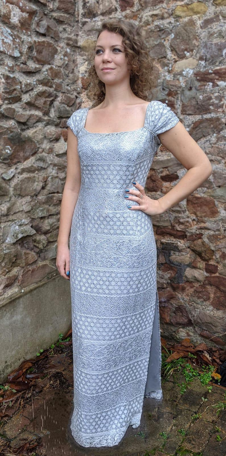 Vintage Silver Diamante Detail Long Dress