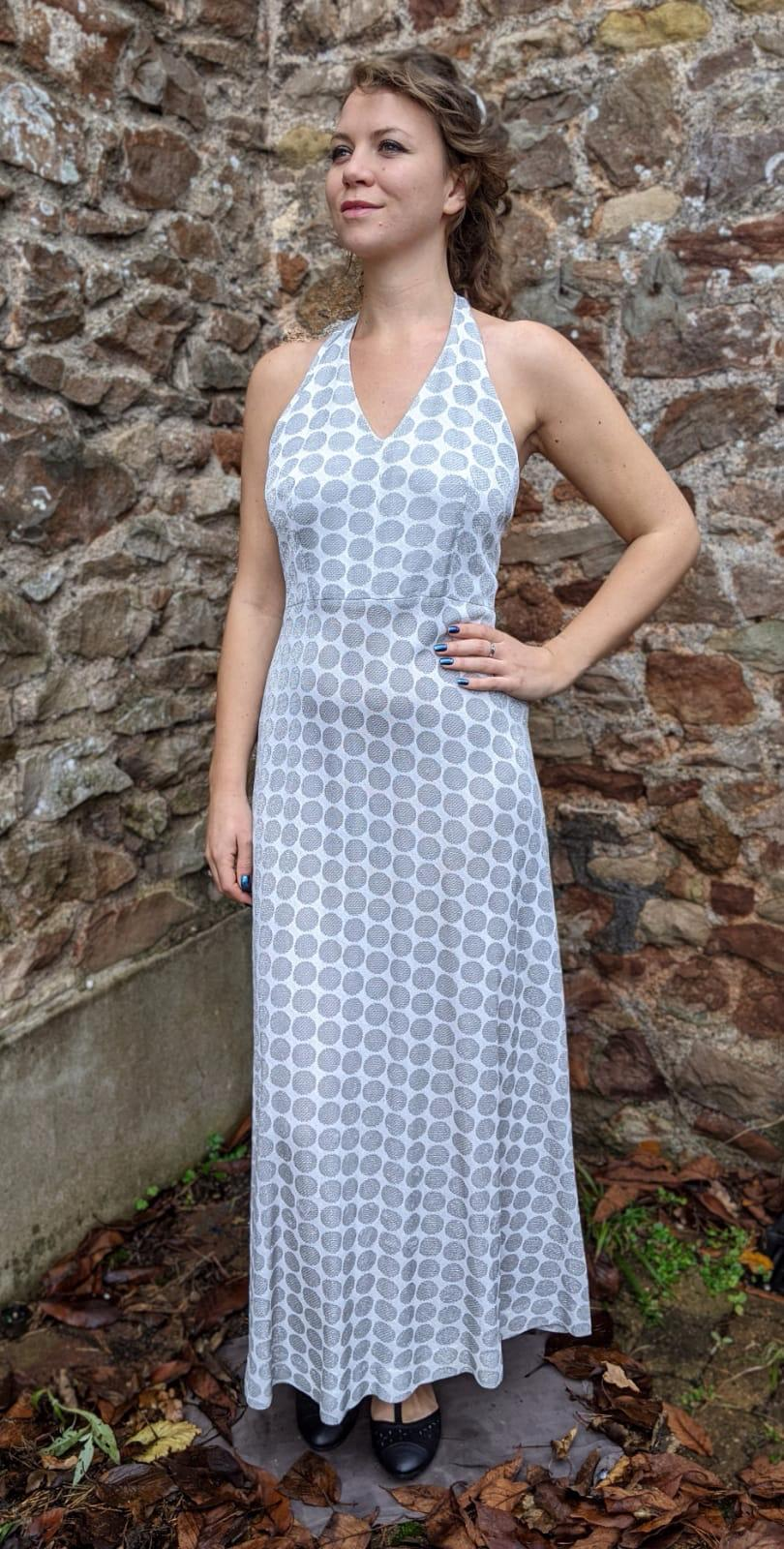 ** SOLD ** Silver & Grey Sparkly Dotty Halter Neck Maxi Dress