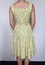 Load image into Gallery viewer, Vintage 1950's Yellow/Orange/Green Squares Day Dress with Belt