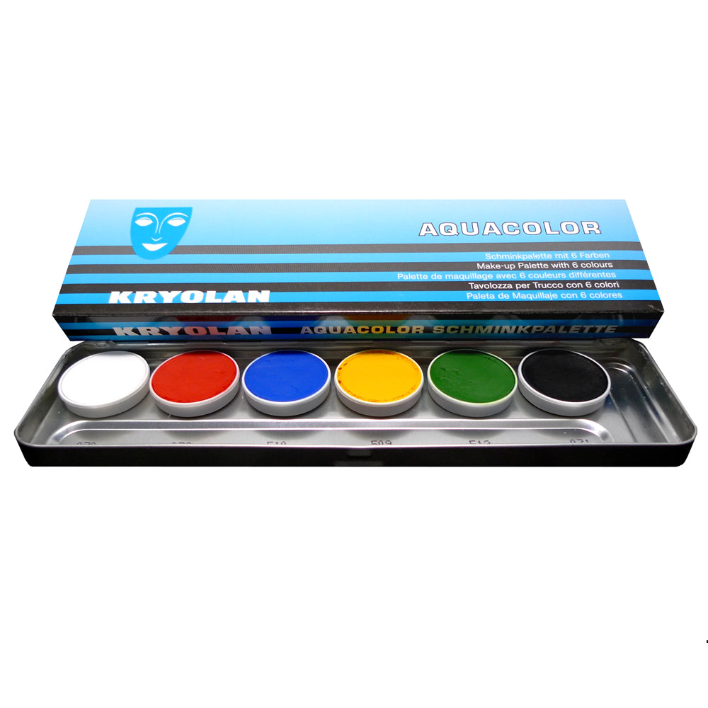 Palette maquillage aqua kryolan 4ml x 6 couleurs