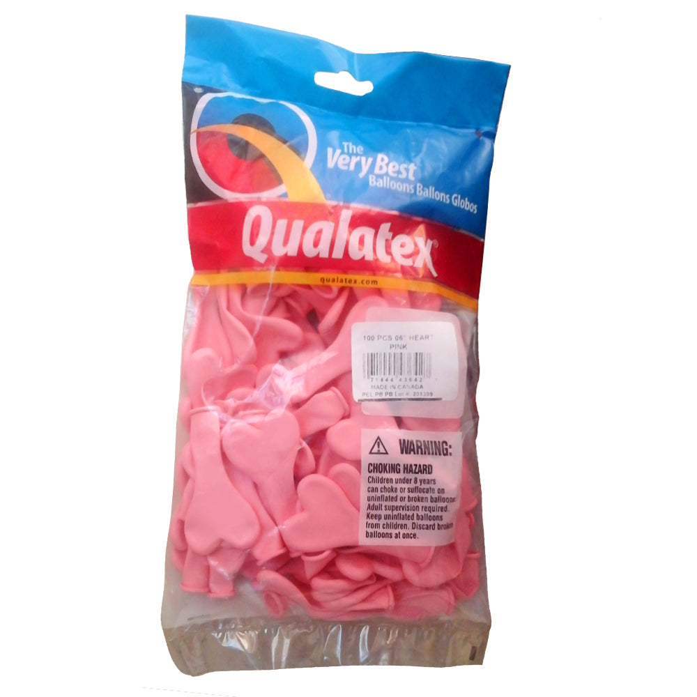 QUALATEX PINK HEARTS 6'' COEURS ROSE 15cm Sachet de 100