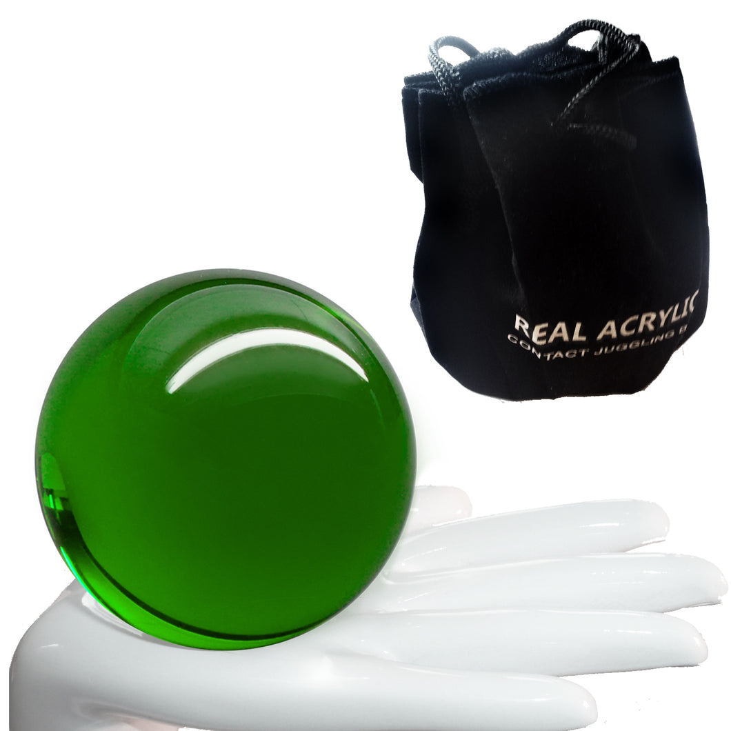 Balle de contact Acrylique Vert Transparent 76mm 190g et étui de protection