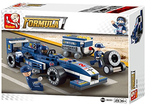 M38-B0351 - F1 RACING CAR BLEUE + MECANICIEN