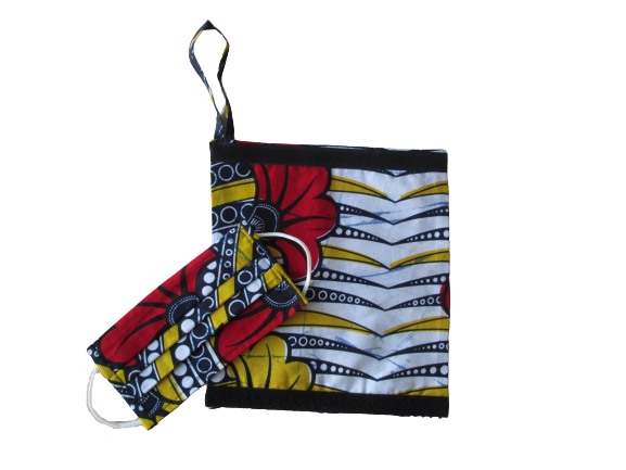 African Wax fabric pouch and face mask set