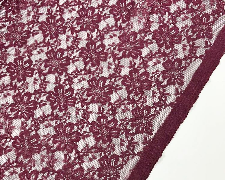 Burgandy Stretch Cotton Lace Per Half Metre - Machine Embroidery Adawnstyle