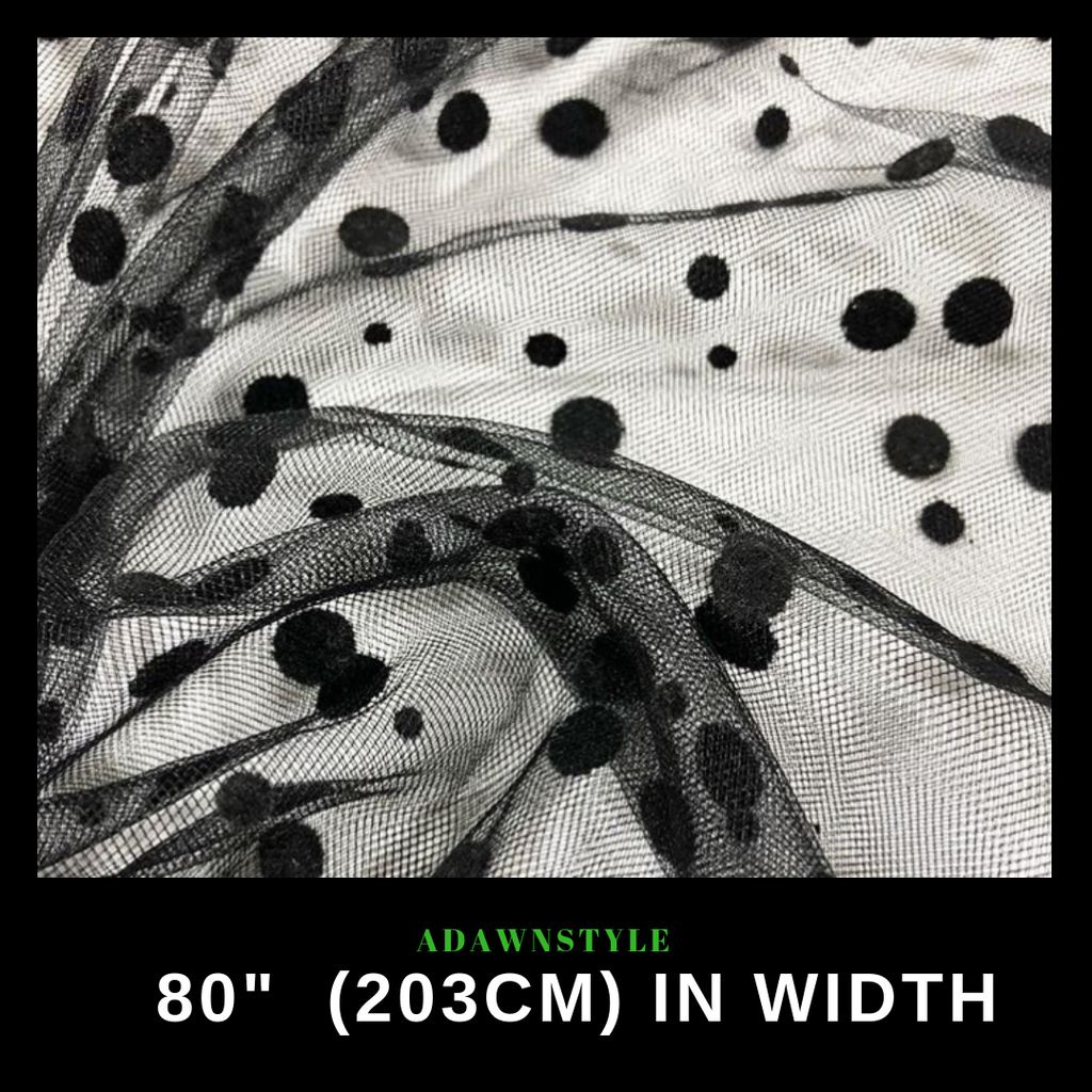 Specialty Fabric Per Half Metre - Black Tulle with Velvet Spots - Machine Embroidery Adawnstyle