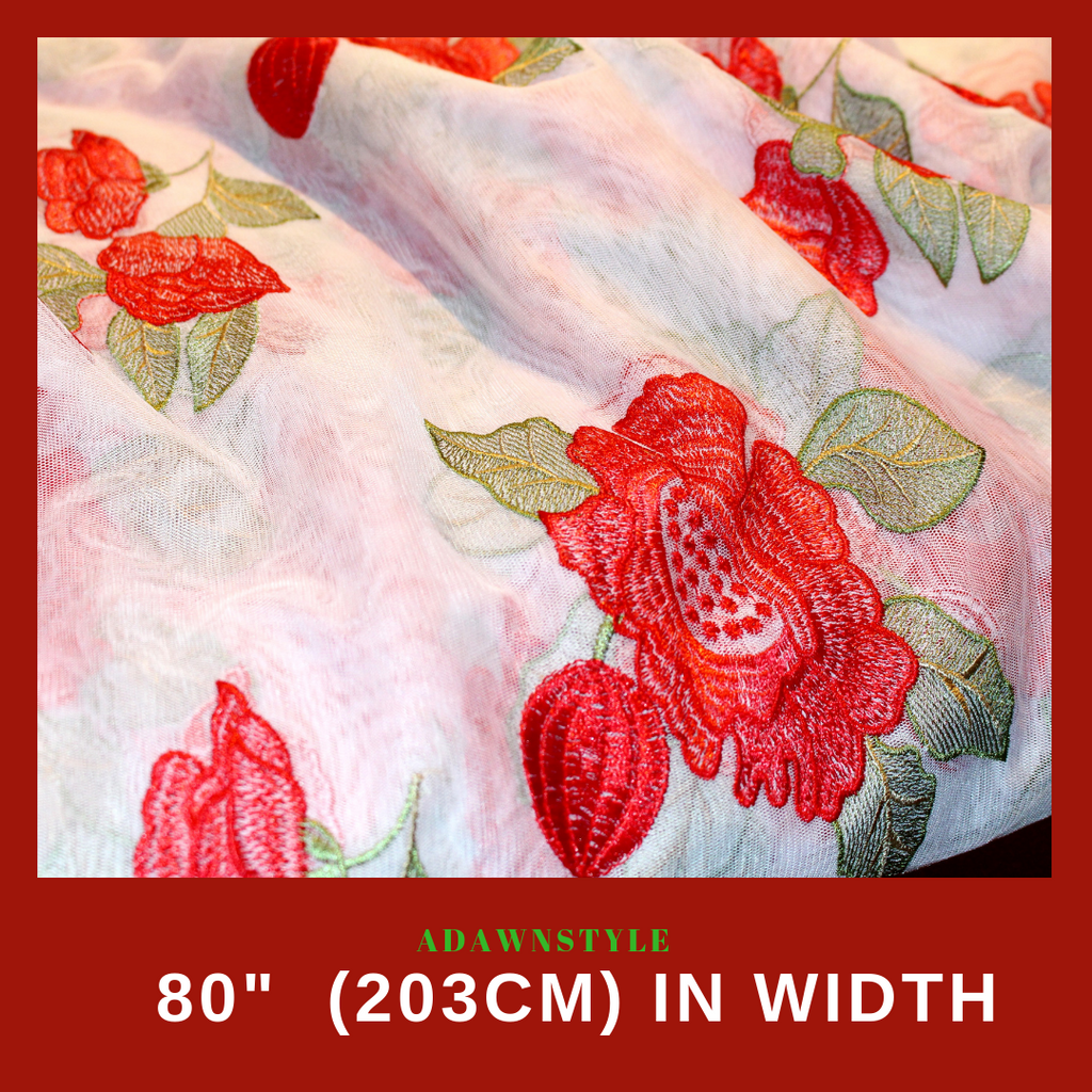 Specialty Fabric Per Half Metre - Sheer With Red Flowers - Machine Embroidery Adawnstyle