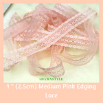 "1"" (2.5cm) Medium Pink Cotton Edging Lace - Machine Embroidery Adawnstyle"