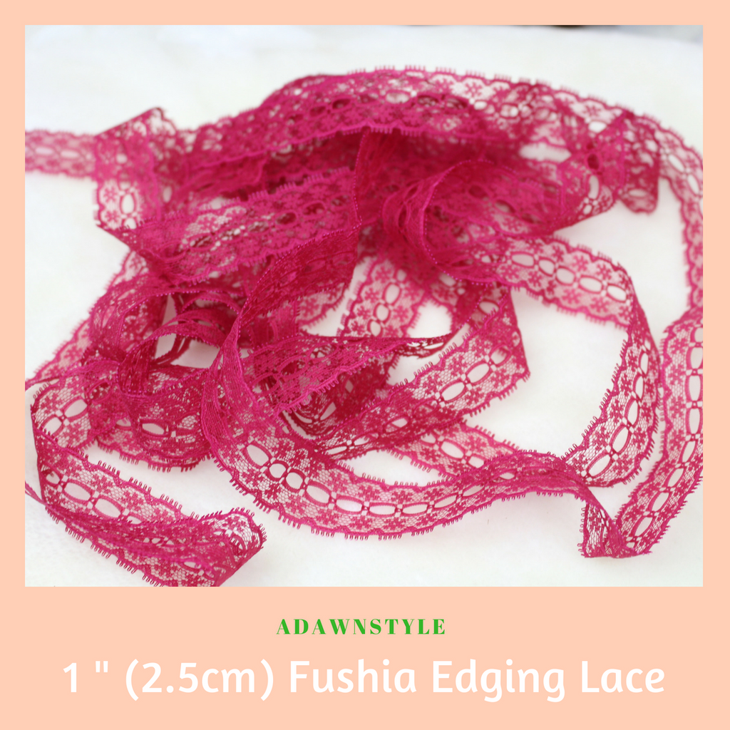 "1"" (2.5cm) Burgandy Edging Lace - Machine Embroidery Adawnstyle"