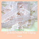 "1"" (2.5cm) Baby Pink Edging Lace - Machine Embroidery Adawnstyle"