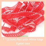 "1"" (2.5cm) Red with White Edge Cotton Edging Lace - Machine Embroidery Adawnstyle"
