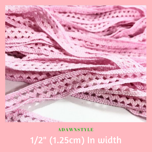 "1/2"" (1.25cm) Baby Pink Lace - Machine Embroidery Adawnstyle"