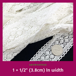 "1+1/2"" (3.8cm) White Lace - Machine Embroidery Adawnstyle"