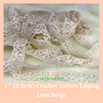 "1"" (2.5cm) Cream Cotton Edging Lace - Machine Embroidery Adawnstyle"