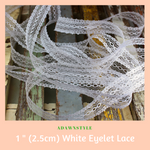 "1"" (2.5cm) White Eyelet Lace - Machine Embroidery Adawnstyle"