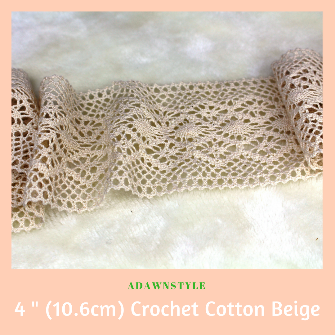 Wide 4 inch (10.6 cm) Natural Cotton Lace - Machine Embroidery Adawnstyle