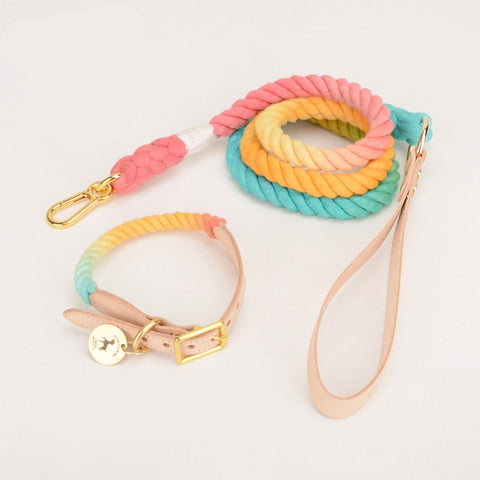 Hand Made Rainbow Leash Rope With Matching Collar