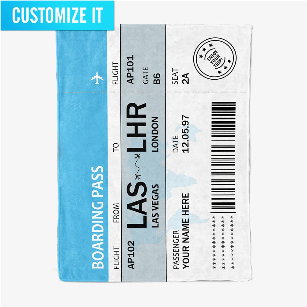 Custom Boarding Pass - Fleece Blanket